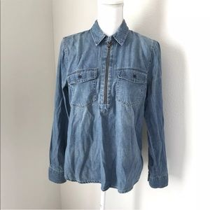 Madewell Chambray Top Size M denim zip-front
